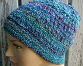 Hat/cap, knit with my handspun yarn using my own design