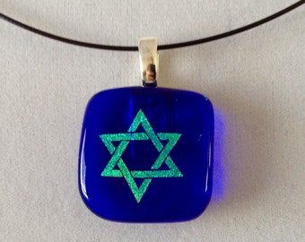 Small Cobalt Blue Star of David Pendant Necklace