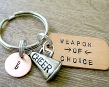 CHEERLEADING Keychain, Weapon of Choice, cheerleader gift, cheerleading coach gift, cheerleading team, optional personalized disc