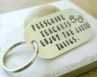 Preschool Teacher Gift, Pre-K Teacher gift, Preschool Teacher Keychain, Teacher Appreciation gift, personalize the back, pre K teacher gift