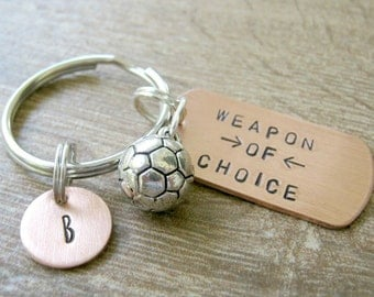 SOCCER Keychain, Weapon of Choice, sports, soccer team, soccer coach, soccer gifts, soccer fan, soccer ball charm, soccer player gift