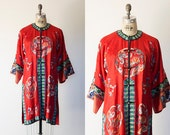 Vintage 1930s Silk Robe/Loungewear/Kimono/Art Deco Embroidered Coat