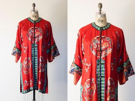 Vintage 1930s Silk Robe/Loungewear/Kimono/Art Deco Embroidered Coat