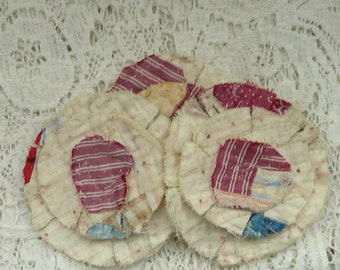 3 upcycled fabric flowers, cottage chic flower, gift top, lot flower supplies scrap flowers shabby upcycled quilt flower scrap appliques #36