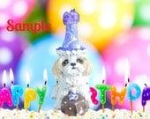 Shih Tzu BIRTHDAY dog OOAK Clay Cake Topper art by Sally's Bits of Clay Original Sculpture
