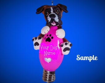 Flashy Fawn Boxer Natural Ears Christmas Light Bulb Ornament Sally's Bits of Clay PERSONALIZED FREE with dog's  name