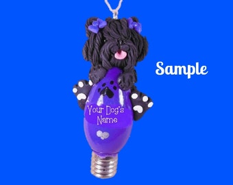 Black Puli Dog with Bows Christmas Holidays Light Bulb Ornament Sally's Bits of Clay PERSONALIZED FREE with dog's name