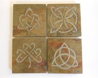 Celtic Knot Coasters Set -Sturdy Slate Stone Coasters, 4 Assorted Celtic Knots, High Quality Drink Coasters, Irish Celtic Norse Viking Decor