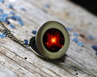 Red Square Nebula Locket - Galaxy Pendant Necklace - Nerd Jewellery - Simple Science Gift - Outer Space Stars Necklace - Red and Black