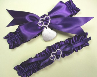 Purple Wedding Garter Set, Personalized Satin Garters in Purple with Engraving and Rhinestone Linked Hearts
