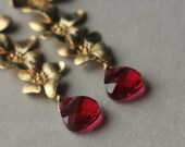 Gold Flower Earrings, Red Crystal Dangle Earrings, Long Briolette Earrings, Floral Jewelry, Brass Flower Earrings, Ruby Red Earrings
