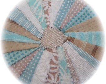Vintage Chenille Bedspread Quilt Charm Squares Kit 24 piece 6 inch DIY Patchwork Lot Aqua Sand and Beach