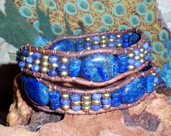 Coupon 20% OFF Leather Wrap Lapis Blue Gemstone Handmade Leather Beaded Stone Bracelet