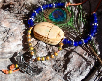 Egyptian Goddess/Scarab/Mood Beads, Lapis Necklace, ISIS