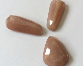 Gemstone Cabochon Moonstone Peach Frre Form Faceted Parcel THREE Cabs