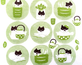 Japanese Stickers - Cute Cat Stickers - Laid Back Cat With Tea  Washi Paper (S44)