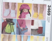 "Shoes Hat Scarf Bag Backpack Boots Sneakers Slippers Sandals 18"" American Girl Doll Sewing Pattern UNCUT"