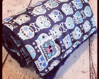 BLACK FRIDAY Weekend SALE Custom Bonehead Sugar Skull baby or toddler blanket Gray and blue aqua your minky choice