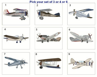 Airplane Art Prints,Boys Vintage Airplane Art, Unframed Art, Boys Airplane Room Decor, Pick your 8 x 10 print set, For Vintage Bedding Decor