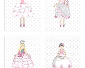 Princess dress up, Girl Art Prints, Fashion Dress Up Art, Princess Art, Unframed, Pick your set size, Girls Pink Art for Bedding Wall Decor