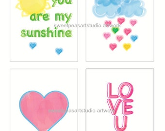 Heart Art Print, Heart Artwork Girls Room Decor Unframed 8 x 10 Prints,You are my sunshine, Love U Wall decor