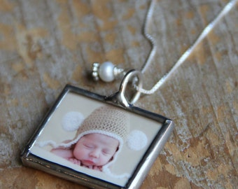 Mothers birthstone photo necklace, Footprint Jewelry, Memorial Photo Charm, Keepsake Necklace, Photo Charm, Photo Jewelry