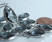 Promotion SALE 25% off Framed iolite blue glass drop charm connector, earring componenet, necklace pendant, 2 pcs (item ID G52N06SP)
