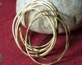Hand hammered solid brass irregular organic oval link connector drop size aprox 38x30mm, 6 pcs (item ID FA00230RBKO)