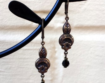 FREE SHIPPING Clearance SALE - Crystal Earrings Black Swarovski with Vintage Brass Ox Flower and Leaf Metal Lightweight Dangle Earrings