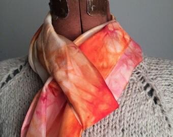 San Jose hand dyed bright colorful orange tangerine silk scarf pumpkin fall California west coast gift one of a kind