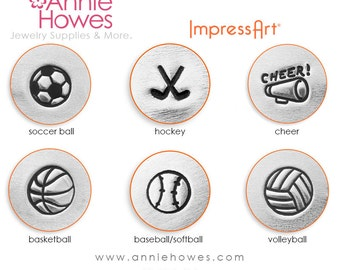 Sports Theme Metal Stamp - Sports Design Stamps, Soccer, Cheer, Basketball, Volleyball - Your Choice
