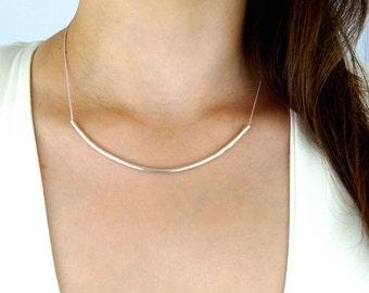 Silver Collar necklace, silver tube necklace, sterling silver necklace, collar necklace, silver tube necklace, u bend necklace