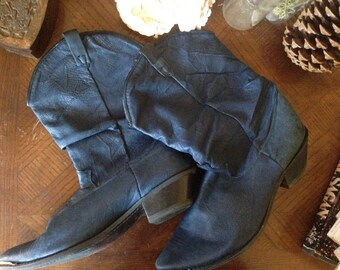 Vtg Cowgirl Boots in Blue Leather size 9