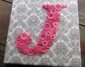 Nursery Wall Art, Button Letter J, Baby Shower Gift, Toddler Gift, Baby Girl Nursery Monogram, Button Art, Nursery Art Canvas, Nursery Decor