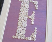Personalized Kids Wall Art, Button Letter E on Silk, Nursery Decor, Button Art, Toddler Gift, Baby Gift, Wall Canvas or Ready-to-Frame