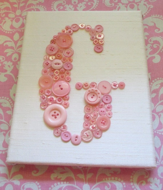 Nursery Wall Art, Button Letter G on Silk, Kids Wall Art, Nursery Art Canvas, Button Art, Nursery Decor, Canvas or Ready-To-Frame