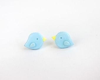 Simple Little Spring Pastel Blue Bird Earrings