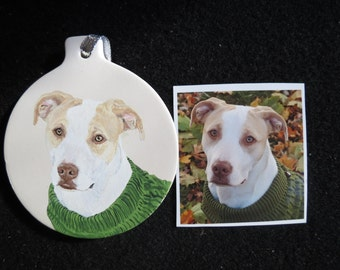 Pit Bull Pet Portrait memorial Ceramic Ornament Hand Painted and Made to Order by Shannon Ivins