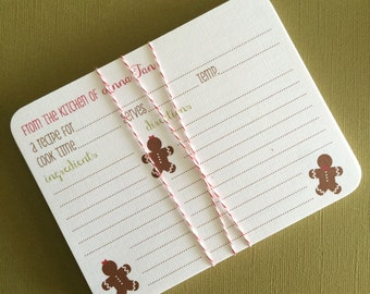 Gingerbread- Personalized recipe cards, set of 20
