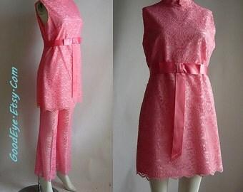Vintage Sheer Lace Pants Suit  BELL Bottoms 60s Mini Dress 2pc / size  4 6 8 VICKY Petite Peach Pink Pantsuit USA