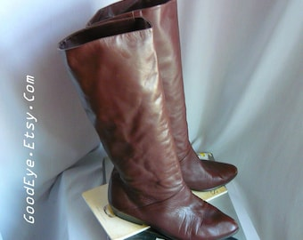 Vintage Leather SLOUCH Knee Boots / Size 7 .5 M Eu 38 UK 5 / Flat Pixie Pirate Cuff Boot / Dark Brown made in Argentina
