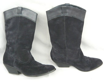URBAN COWGIRL Western Boots  size 8 Eu 38 .5 UK 5 .5 Black Suede Leather Ankle Mid Calf