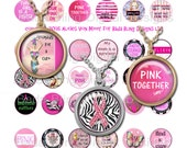 25mm circles, Breast Cancer Awareness,   INSTANT Digital Download at Checkout, collage sheets for breast cancer pendants, pink ribbons
