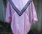 Vintage Chevron Dark Navy Blue and Pink Pullover Slouchy Tunic Top M L XL