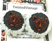 Recycled Fabric Covered Button Tiger Stud Earrings Wild Cat Vintage Crochet Lace Studs orange gray white OOAK