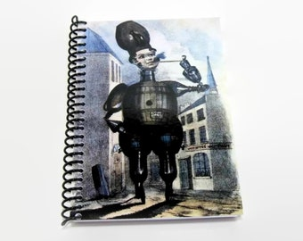 Barrel Man Blank Sketchbook, Writing Journal Diary Notebook, Spiral Bound, 5x7 Inches, Stout Barrel Old London Plate, A5 Antique Caricatures