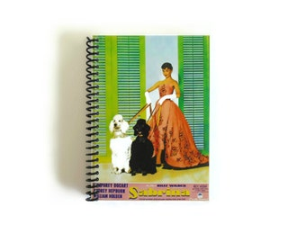 Audrey Hepburn Sabrina Notebook, Spiral Bound Pocket Writing Journal, Blank Sketchbook School A6 Notebook 4x6 Inches, Gifts for Her Under 15