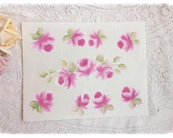 Hand Painted Roses Transparent Label Peel Stick 8x11.5 Sheets Ecs svfteam