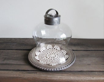Repurposed Vintage Silver Plate Dish and Glass Bell Shaped Cloche Display Stand