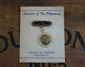 vintage  Made in Germany OTPUST Mount St Macrina Our Lady of Perpetual Help Jewelry Brooch Pin Medal